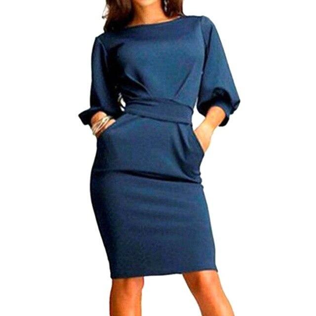 Women Dress 2018 Summer Work Office Half Sleeve Dress 4
