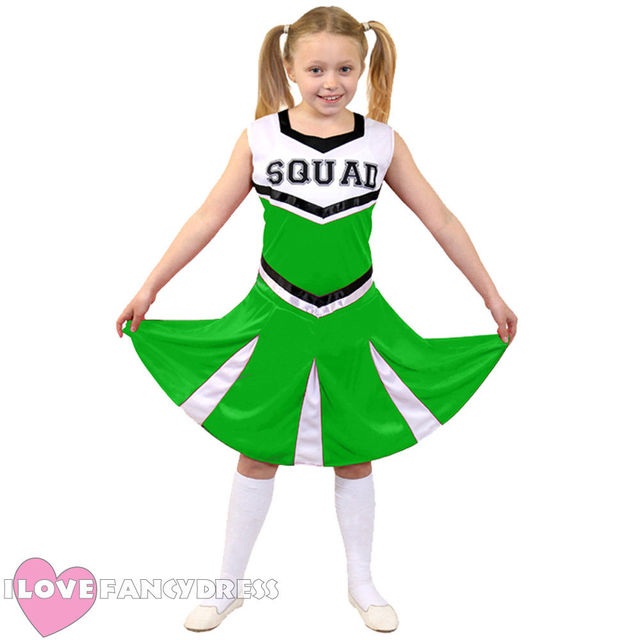 GIRLS CHEERLEADER COSTUME CHILDS CHEER LEADER SQUAD FANCY DRESS DANCE OUTFITS