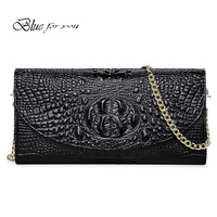 Brand Crocodile Clutch Purse Luxury Party Evening Bags Genuine Leather Shoulder Bag For Women Chain Messenger