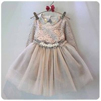 New Baby Girl Dress for Spring Summer Long Sleeve Lace Princess Dress with Crystal Betterfly knot Decor Solid Children Clothing