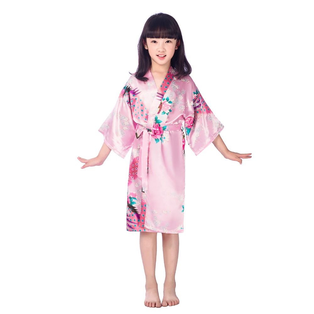 Mother & Kids 10pcs/lot Girls Satin Kimono Robes Wedding Bridesmaid Party Girls Bathrobes Peacock Nightgown Sleepwear Girls Robes B30 Sleepwear & Robes