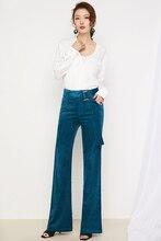 2018 Spring Fashion Velvet High Waist Casual Pants Corduroy Pants Trousers Wide Leg Trousers Stretch Slim Large Size XXXL