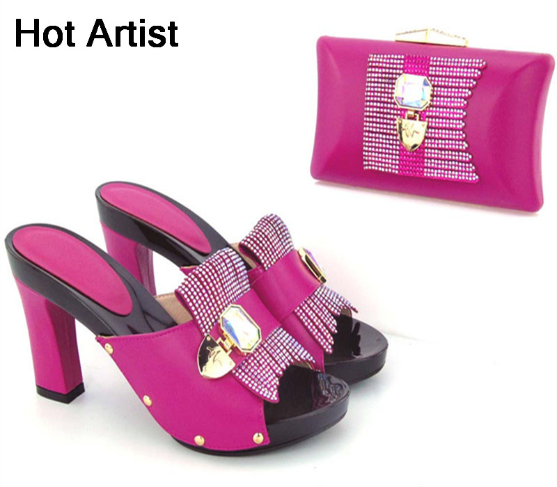 Hot Artist High Quality Fashion Shoes And Matching Bag Set Italian Design High Heel Shoes And Bag Set For Wedding Party TX-567