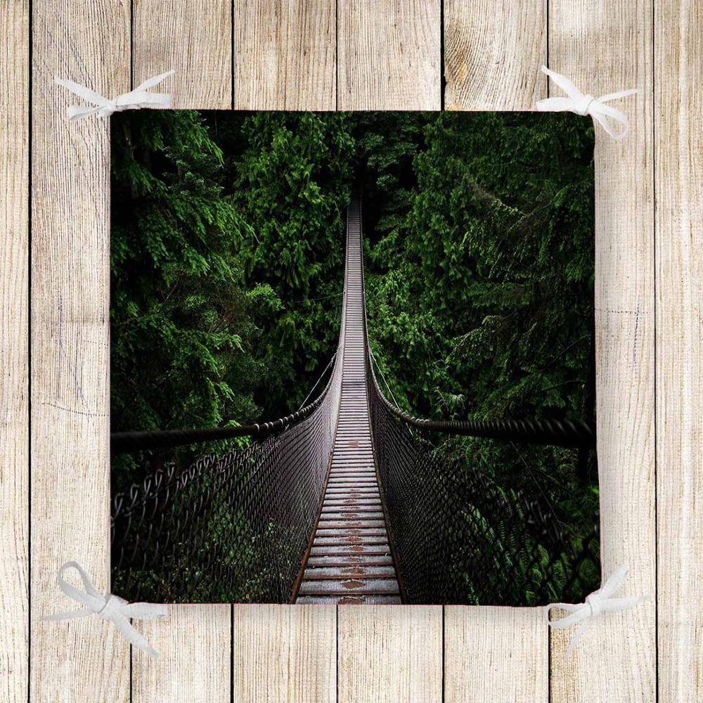 Else Green Trees Jungle In Gray Bridge 3d Chair Pad Seat Cushion Soft Memory Foam Full Lenght Ties Non Slip Washable Zipper