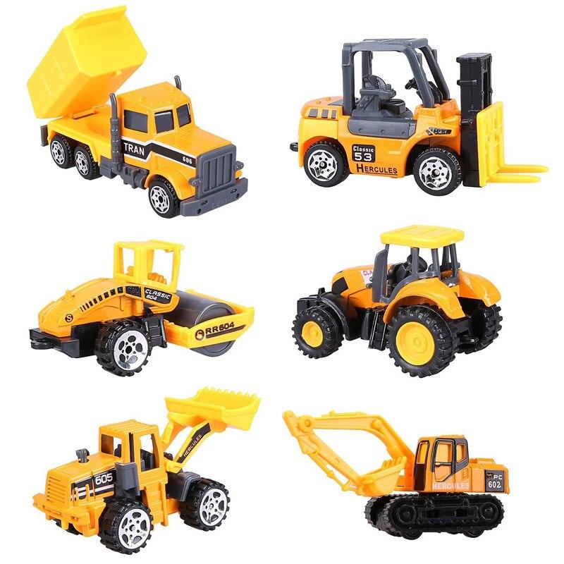6 teile/los Mini Diecast Bau Fahrzeug 7 Arten Modell Metall spielzeug Autos Hotwheels Traktor Spielzeug Dump Lkw Modell Legierung Spielzeug auto