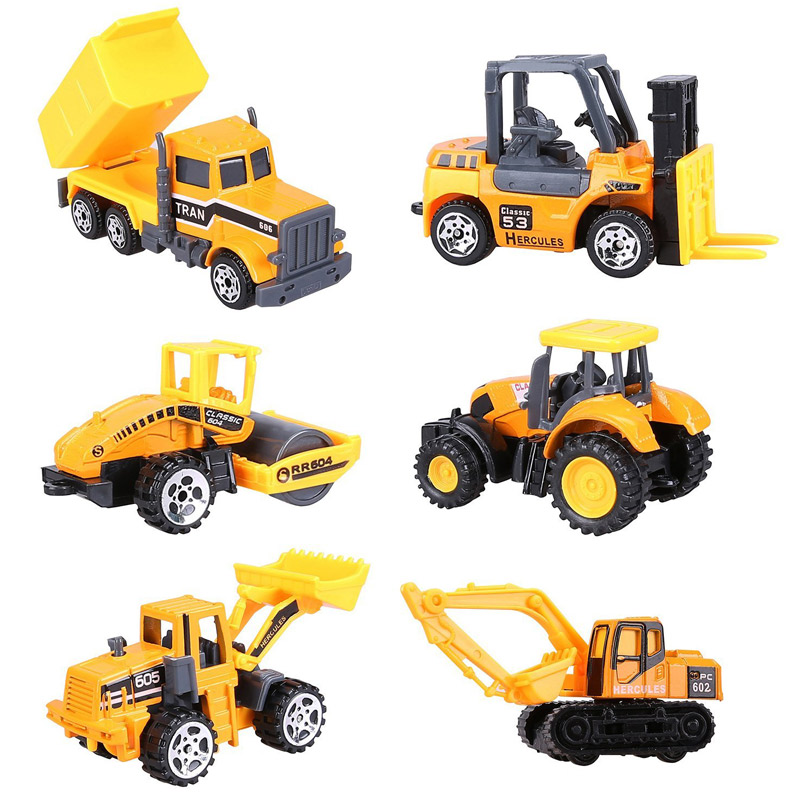 Hotwheels 6Pcs Alloy Track Car Toy Diecast Mini Metal Construction Vehicle Toys Set Simulation Agricultural Tractor Excavator