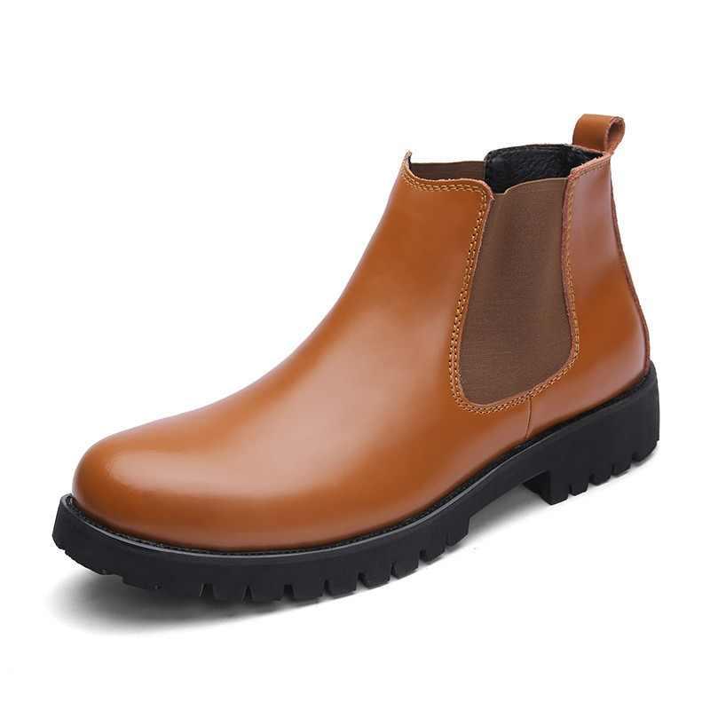 a5b1512079c Plus tamaño 37-45 Chelsea botas de los hombres de invierno zapatos de cuero  de
