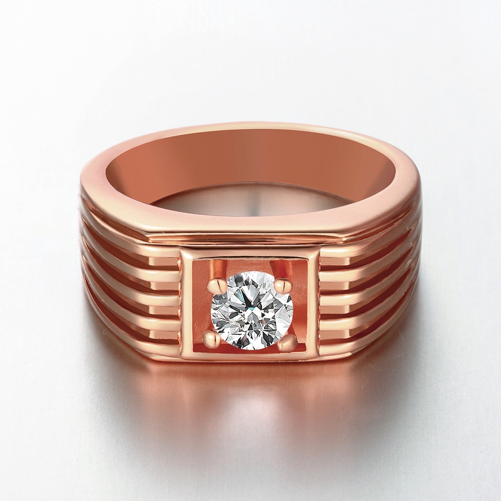 Rose Gold Color Rings for Men Wedding Rings Wide Round Ring with