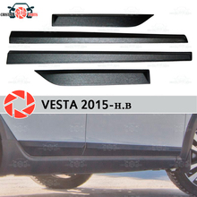 Для Lada Веста 2015-дверные молдинги для защитной 1 комплект-4 шт. пластик ABS Украшения защиты отделка Обложки Тюнинг автомобилей настройки