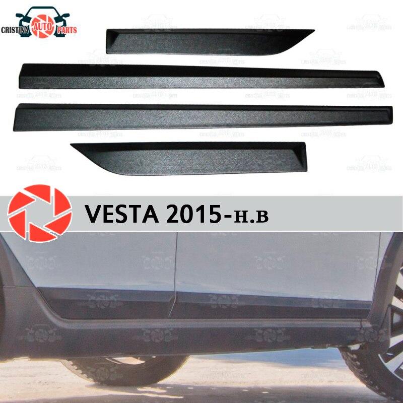 Pour Lada Vesta 2015-portes moulures pour protection 1 set-4 pièces plastique ABS protection décoration garniture couvre voiture style tuning