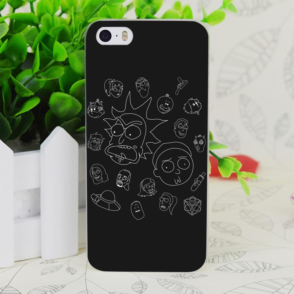 C1212 Рик и Морти литой белый прозрачный жесткий тонкий корпус кожного покрова для Apple IPhone 4 4S 4 г 5 5 г 5S SE 5C 6 6 S плюс