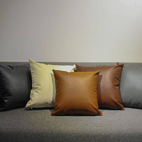45*45cm solid black brown beige European style sofa pillow case cushions sofa pillowcase pu leather case for pillow decor