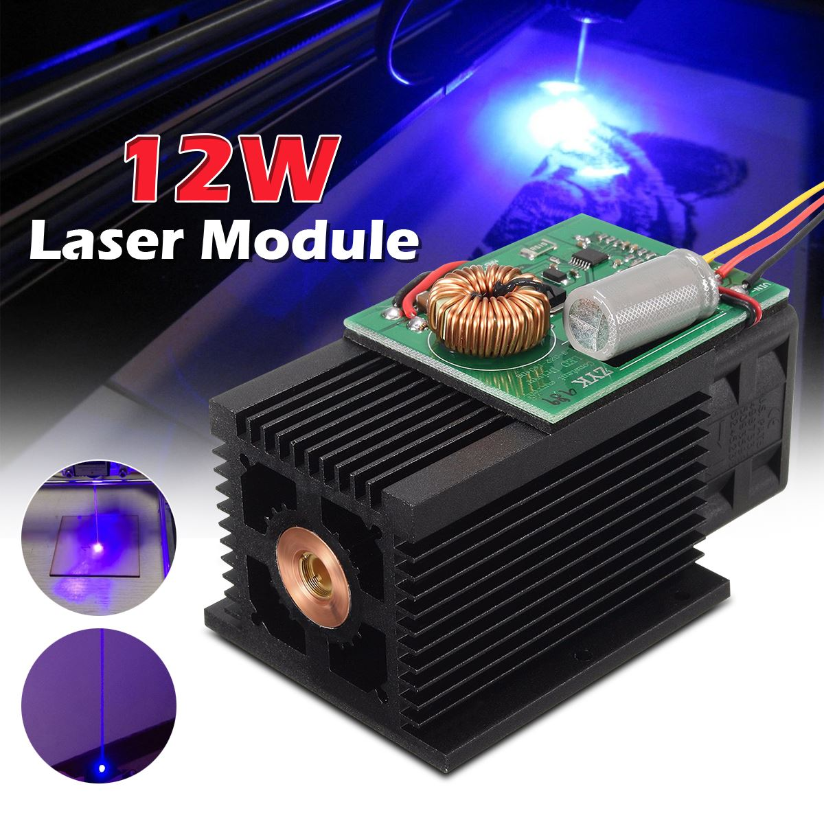 450nm 12W Blue Light Laser Module TTL Blue Laser Head DC 12V High Power for Mini DIY Metal Wood Engraving Cutter Machine