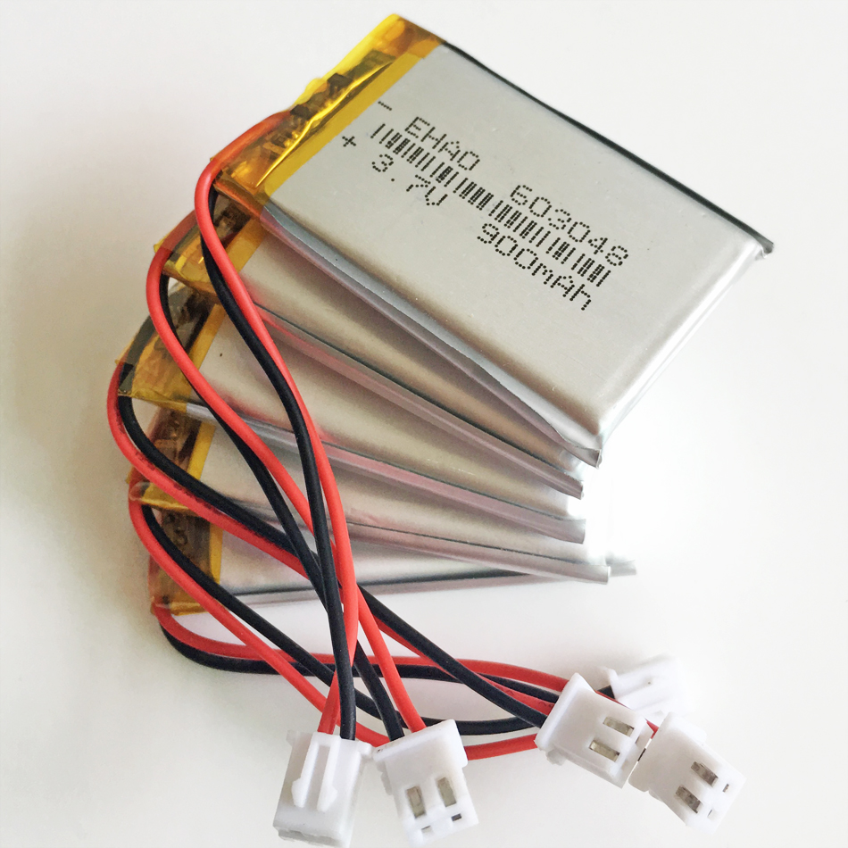 Lot 10 pcs 3 7V 900mAh LiPo Lithium Polymer Rechargeable Battery JST XHR  2 54mm 2pin 603048 For Mp3 GPS bluetooth camera speaker