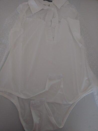 Dobby Mesh Yoke Button Front White Bodysuit Women Summer Elegant Solid Long Sleeve Bodysuit Ladies Skinny Lace Bodysuit photo review