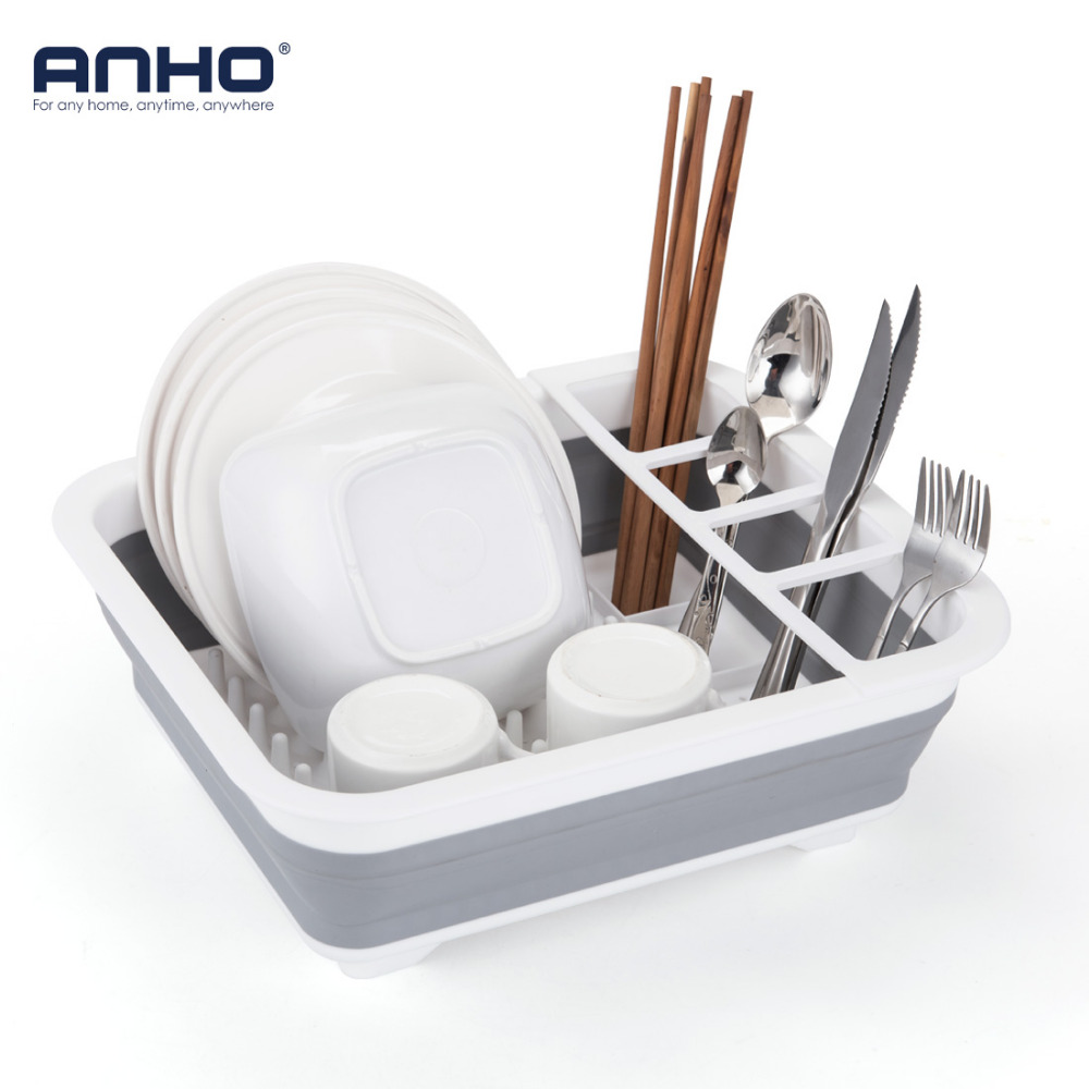 ANHO Foldable Dish Rack Kitchen Storage Holder Drainer Bowl Tableware Plate Portable Drying Rack Home Shelf