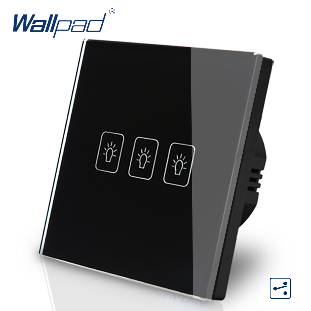 цены  3 Gang 2 Way 3 Way Eu European Standard Switch 110V-240V Wallpad Black Crystal Glass LED Touch Wall Switch EU Free Shipping