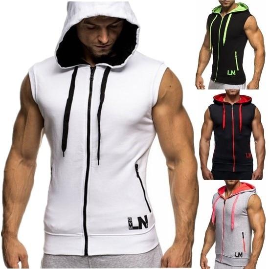 PLUS SIZE S-XXXL Mesh Men's Sleeveless Letter Printing Tank Top Men's Hooded Vest