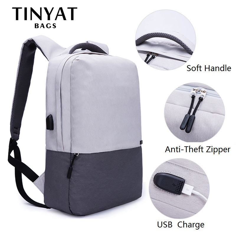 TINYAT Men Laptop Backpack For 15.6 inch USB Charging Backpacks Computer Anti-theft Bag School Backpack Bag Travel Mochila Women все цены