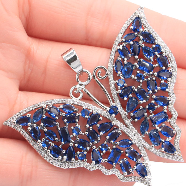 New Arrival Big Heavy 14 8g Tanzanite White CZ Ladies Party Silver Pendants 55x47mm in Pendants from Jewelry Accessories