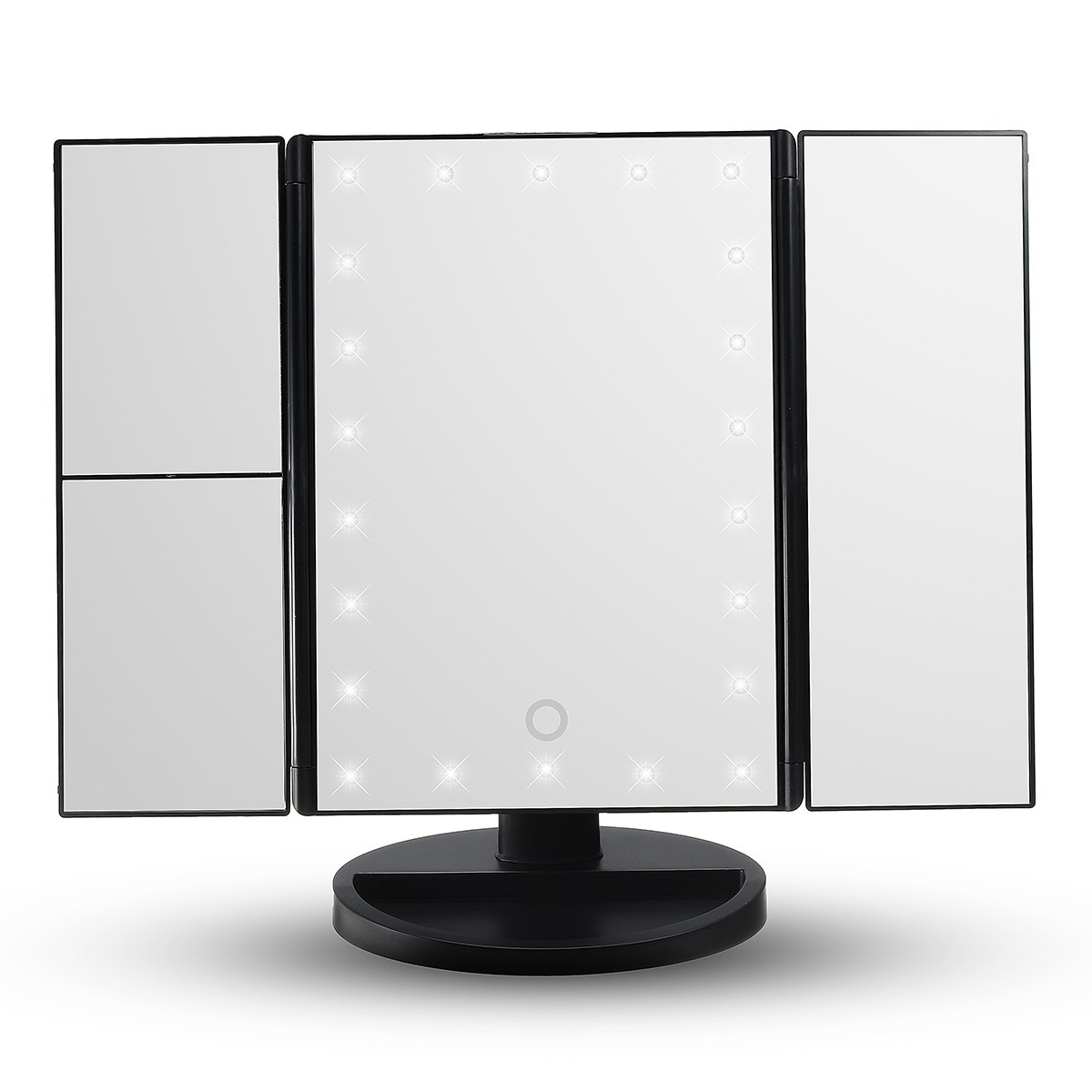 Hot touch screen led light makeup mirror 3 folding lighted for Mirror screen