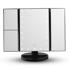 HOT Touch Screen Led Light Makeup Mirror 3 Folding Lighted Led Magnifying Mirrors Table Desktop Makeup