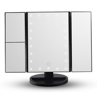 Touch Screen Led Light Makeup Mirror 3 Folding 1X 2X 3X Led Magnifying Mirrors Table Desktop