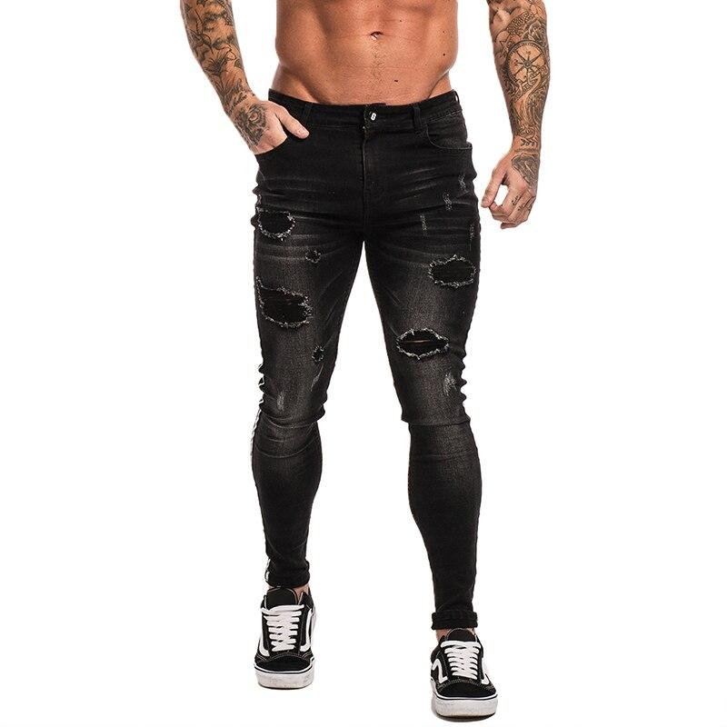 Gingtto Dünne Jeans Für Männer Schwarz Jeans Distressed Stretch Slim Fit Jeans Große Größe Knöchel Eng Baumwolle Spandex Zerrissene Jungs zm23