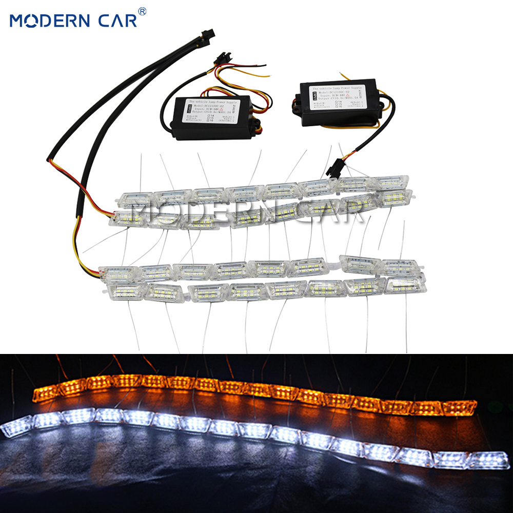 MODERN CAR Flexible White/Amber Daytime Running Lights Sequential Flowing Switchback LED DRL Strip Flow Turn Signal Lamp