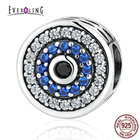 Blue Crystals Evil Eye 100 925 Sterling Silver Charm Beads Fits Pandora European Charms Bracelet Bangles