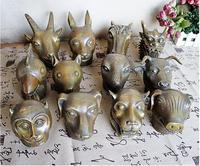 9cm Pure Copper The 12 Bronze Animal Heads Statue Souvenir Figurine feng shui Home decoration accessories Figurine 12 Zodiac SM3