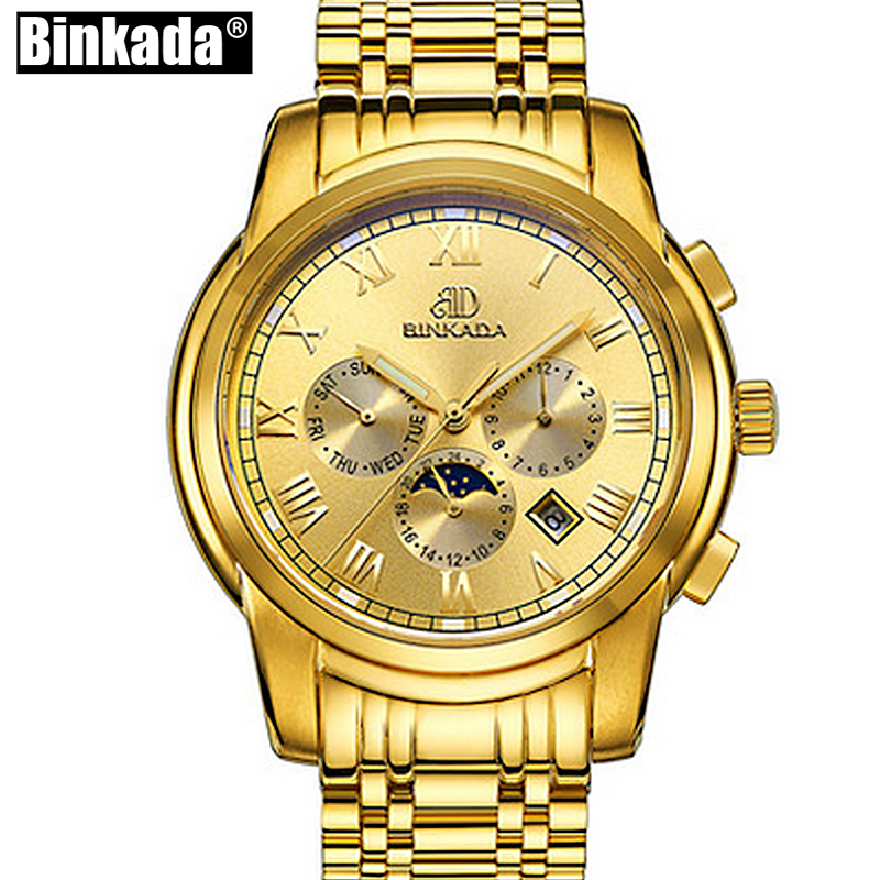 Luxury Gold Watches Mens Watches Automatic Mechanical Watch Moon Phase Casual Business Wristwatch Top relojes hombre baogela hollow skeleton automatic mechanical watches mens top brand luxury leather band gold business wristwatch