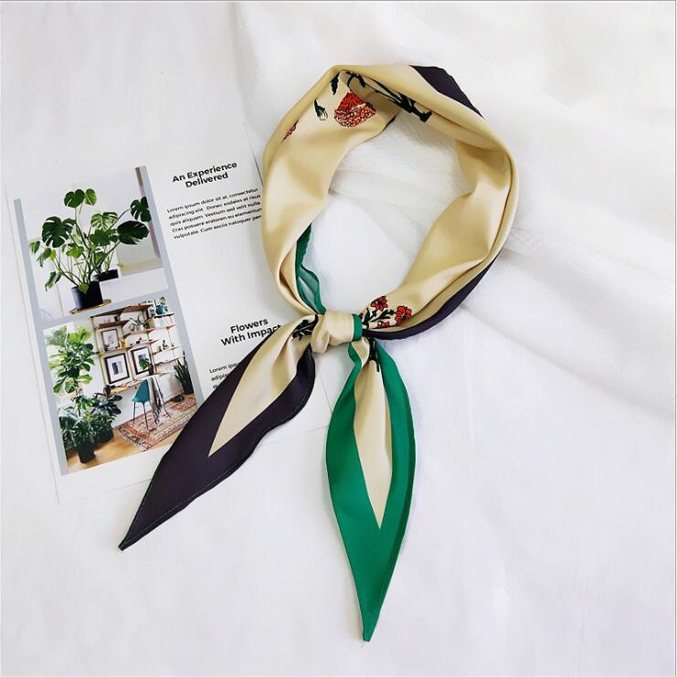 Woman Small Silk Scarf Flower Print Square Scarves Women Headscarf Wraps 2018 Winter Autumn Ladies Shawls Bandana Hijab 118cm