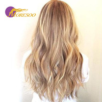 Moresoo Tape In Human Hair Extensions Remy Hair Body Wave Blonde #14 Mixed With Platinum Blonde #613 Skin Weft 20Pcs/50g