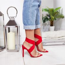 New 2019 High Quality Transparent Womens Sandals Pointed Peep Toe cross stiletto Heels Sexy Summer Ladies Red Wedding Shoes