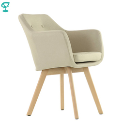 K100WdFbBeige Barneo K-100 fabric Interior lounge chair Furniture living room armchair wood legs Beige free shipping in Russia