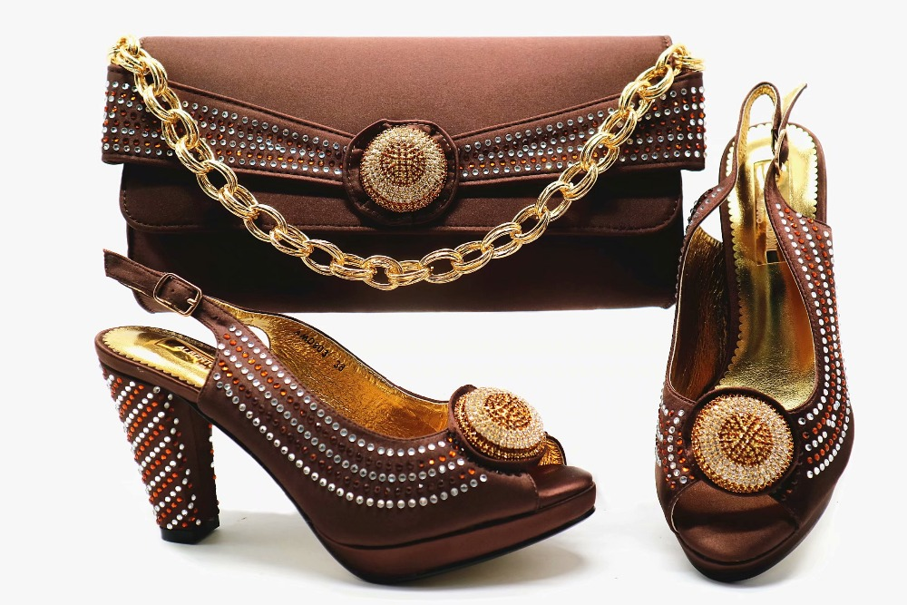 4 inches coffee chocalate brown shoe and bag matching set italian shoes and bag for african aso ebi party shoe and bag SB8253-1 все цены