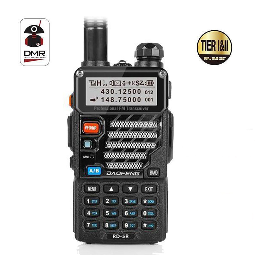 Baofeng RD-5R DMR Tier II VFO Digital Dual Band Dual Slot 136-174/400-470MHz Two way Radio Walkie Talkie Ham TransceiverBaofeng RD-5R DMR Tier II VFO Digital Dual Band Dual Slot 136-174/400-470MHz Two way Radio Walkie Talkie Ham Transceiver