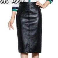 SUCH AS SU New 2017 High Quality Fall Winter Women Pencil Skirt Black High Waist PU Leather Skirts S 5XL Female Mid Long Skirt