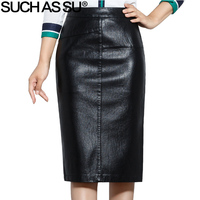 SUCH AS SU New 2018 High Quality Fall Winter Women Pencil Skirt Black High Waist PU Leather Skirts S 5XL Female Mid Long Skirt