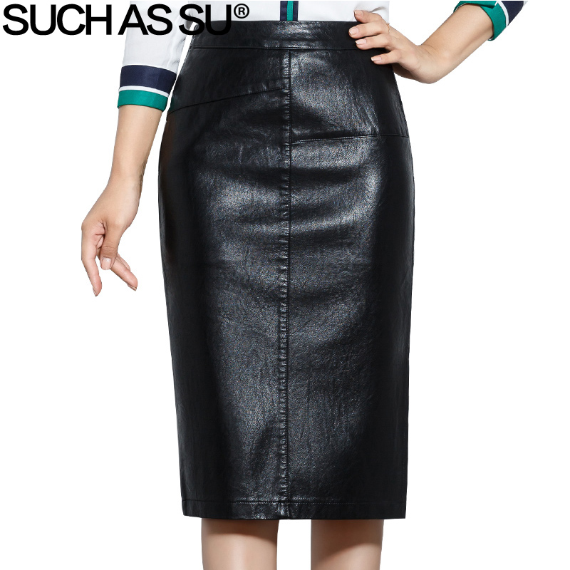 SUCH AS SU New 2018 High Quality Fall Winter Women Pencil Skirt Black High Waist PU Leather Skirts S 5XL Female Mid Long Skirt