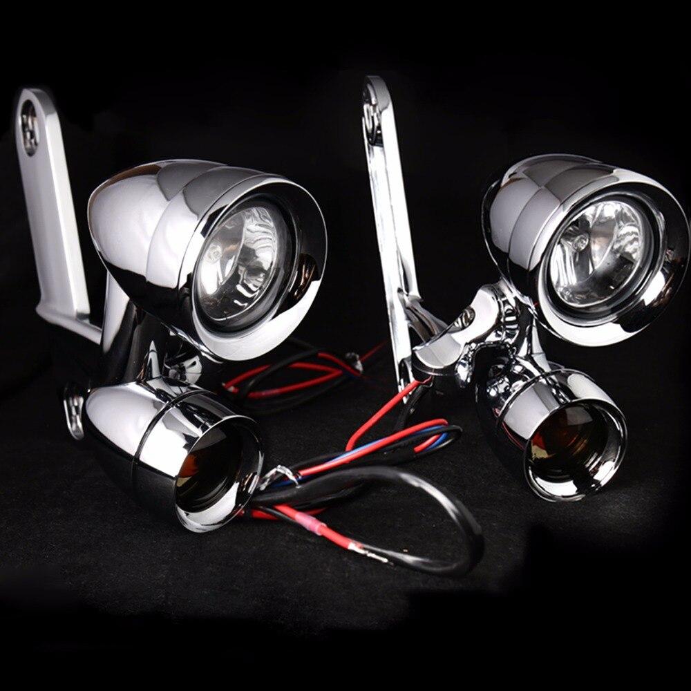 Phares de conduite montés sur carénage chromé avec clignotants adaptés pour Harley Touring Street Glide Road King 1997-2013