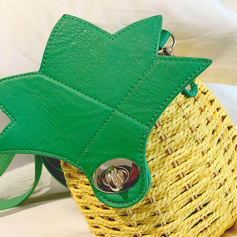 Women Pineapple Handbag Female Messenger Bags Straw Beach Crossbody Bag Lady Fashion Rattan Clutches Tote Knitted SS3010 (7)