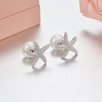 Brand Design Cute Women starfish Stud Earrings full Crystal Natural Pearl earrings Monaco jewelry boucle d'oreille femme 2018