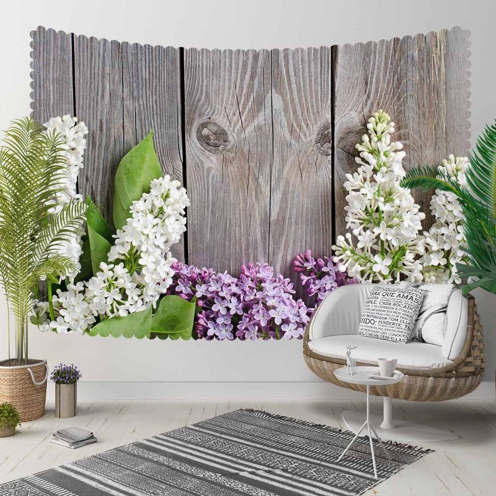 Autre gris bois blanc violet lavande fleur Floral impression 3D décoratif Hippi bohème tenture murale paysage tapisserie mur Art
