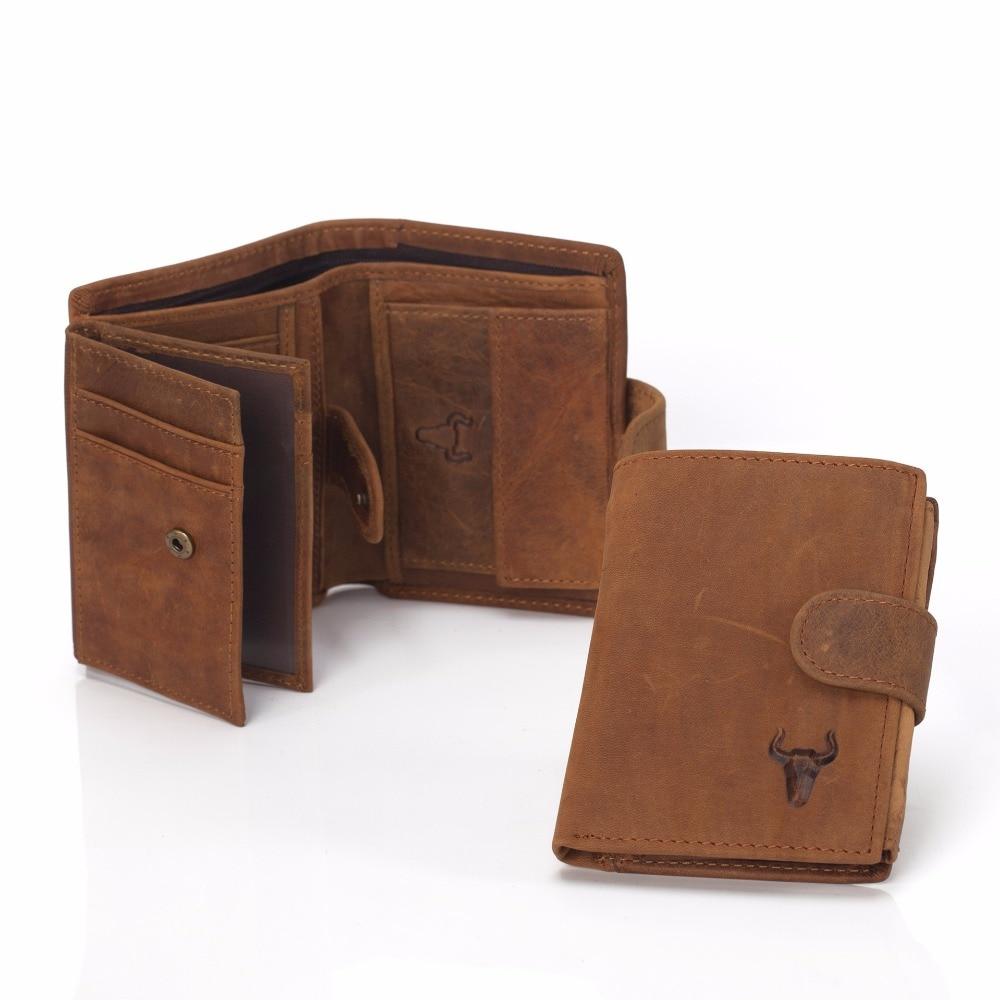 Men Wallet Genuine Leather Men's Bulls Man Vintage Grazy Horse Cowhide Leather Big Capacity Short Purse With Zipper Coin Pocket