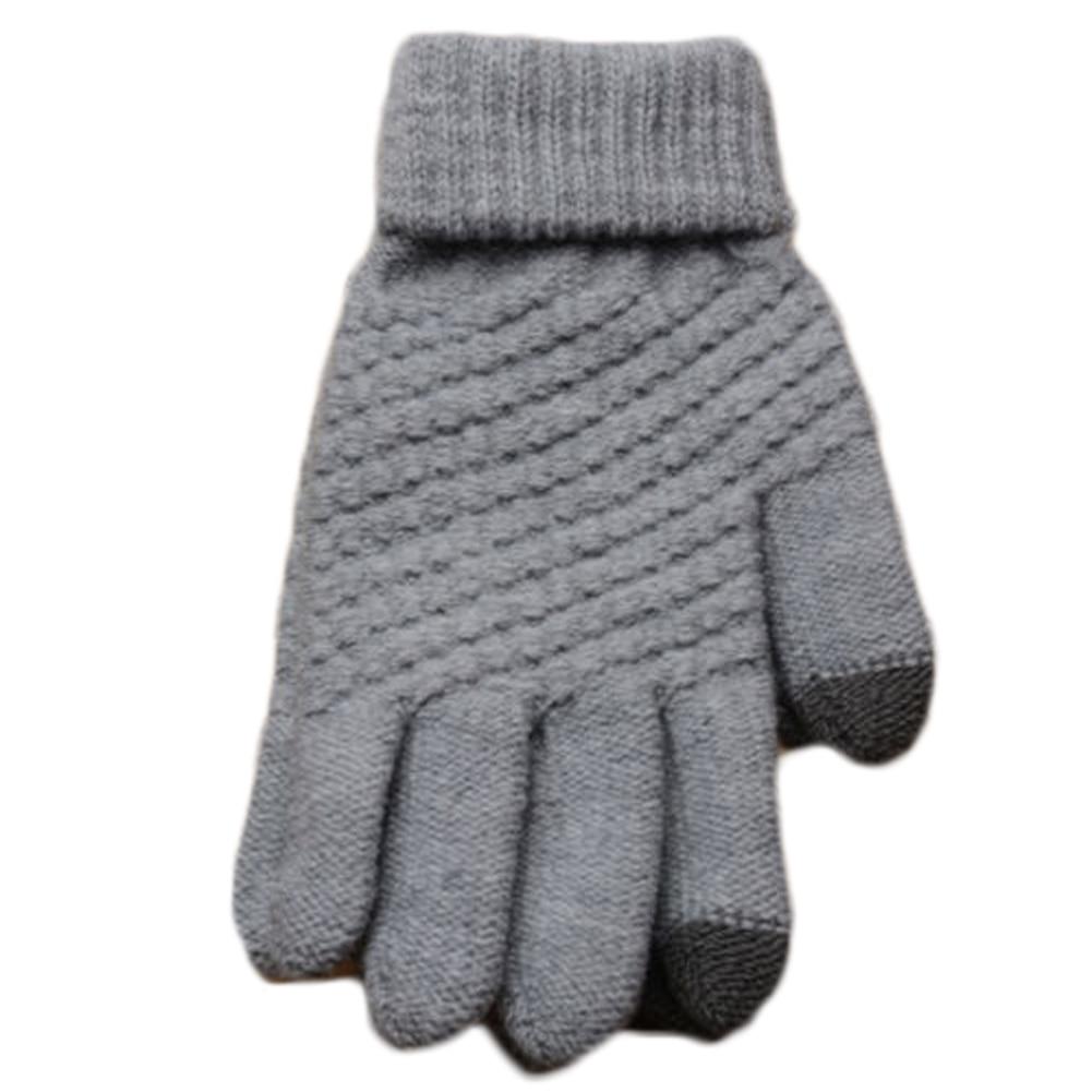 Giraffita Knitted Winter Gloves 2017 Black White Touch Screen Gloves Man Women Winter Gloves Unisex Wrist Solid Warmer