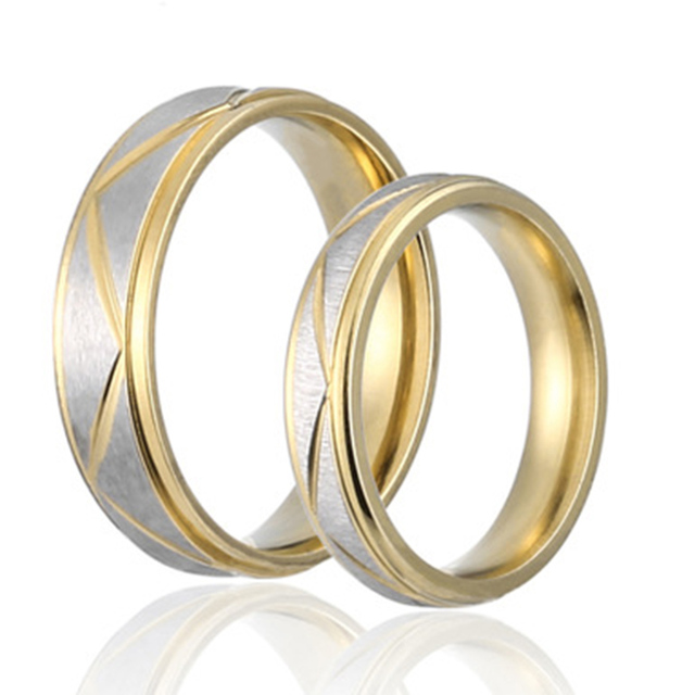 1pc new fashion wedding ring couples matching rings lovers gold