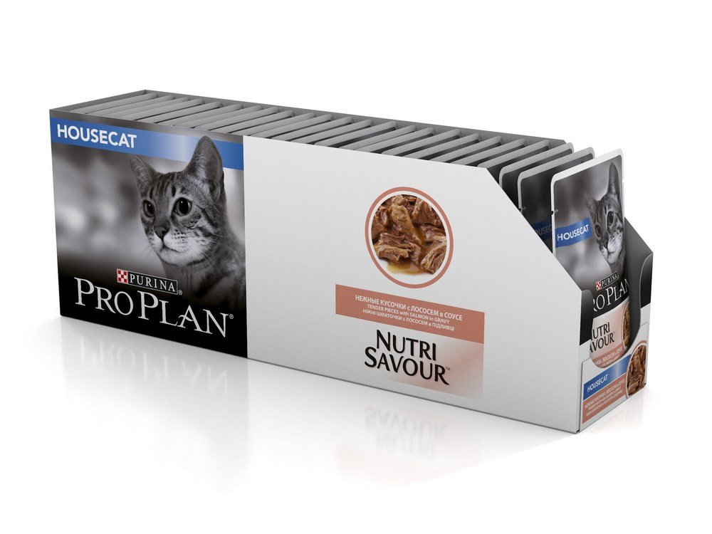 Cat wet food Pro Plan Nutrisavour Housecat spider for domestic cats, Salmon (pieces in sauce, 24*85 g) purina pro plan purina pro plan nutrisavour housecat salmon 85 г х 24 шт