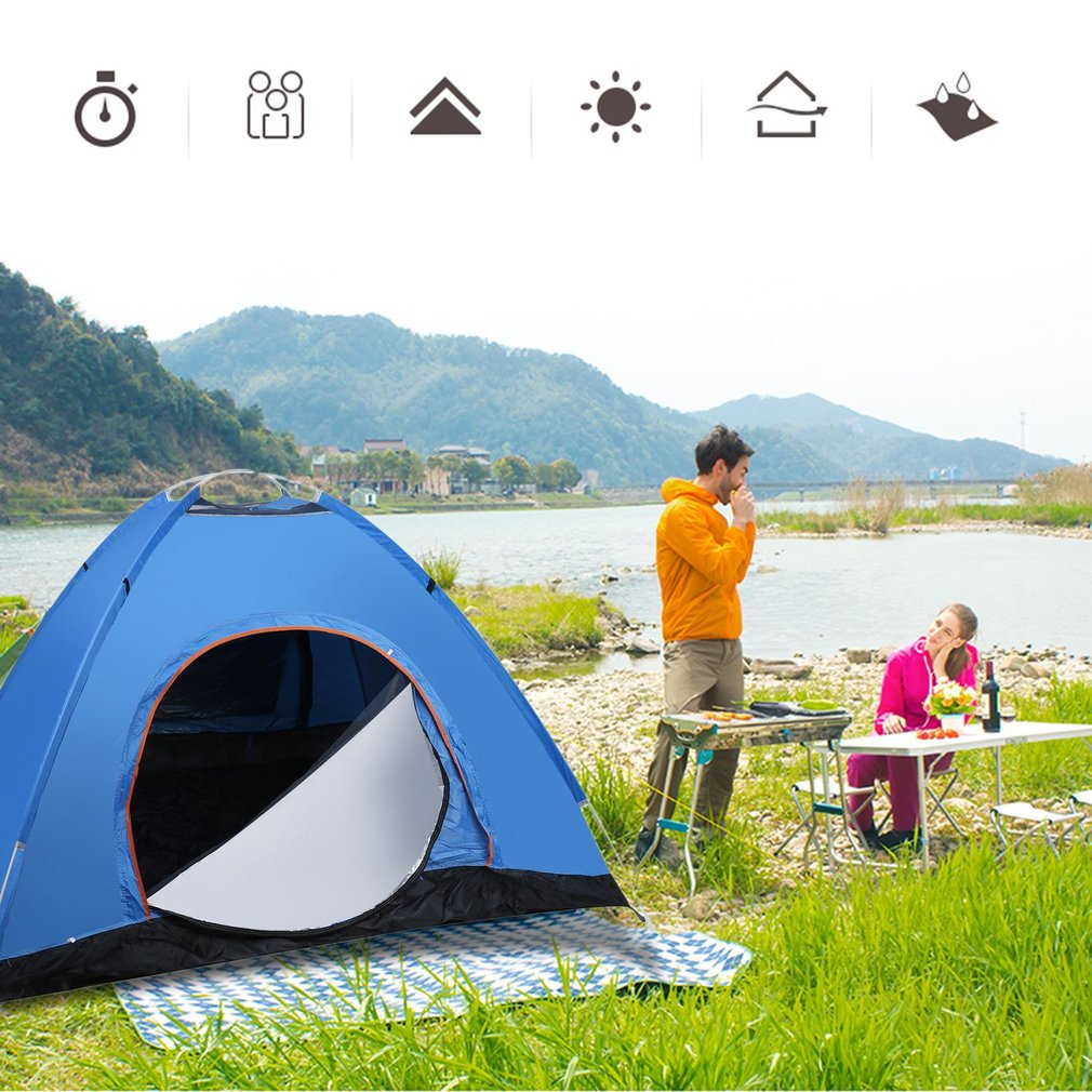 3-4 Person Quick Automatic Pop Up Opening Beach Sun Shade Shelter Outdoor Camping Fishing Hiking Family Tent Blue New outdoor summer tent gazebo beach tent sun shelter uv protect fully automatic quick open pop up awning fishing tent big size
